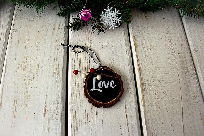 Love - Wood Slice Ornament