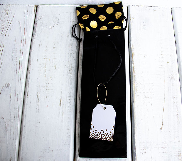 Black Wine Gift Bag with Organza Insert