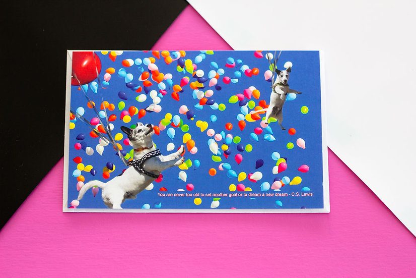 Dog Balloon - Birthday - Greeting Card