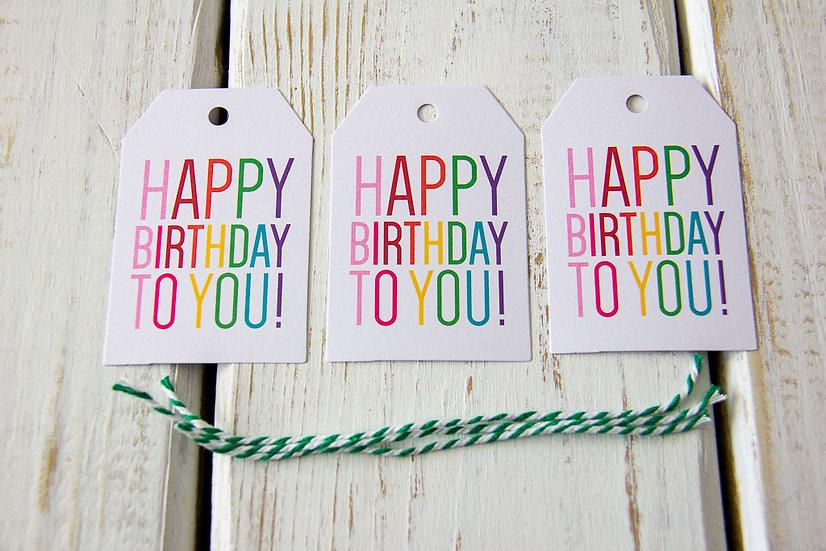 Happy Birthday Rainbow - Gift Tags