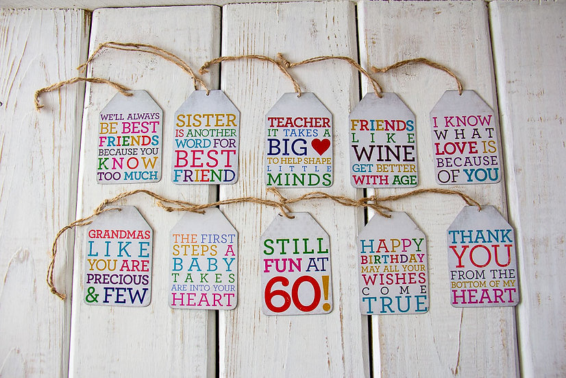 Metal Gift Tags with Twine - Various Sayings