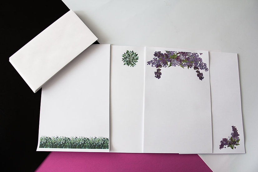 Lilacs and Lilies - Stationery Set