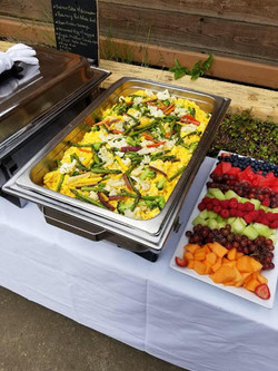 breakfast and fruit buffet