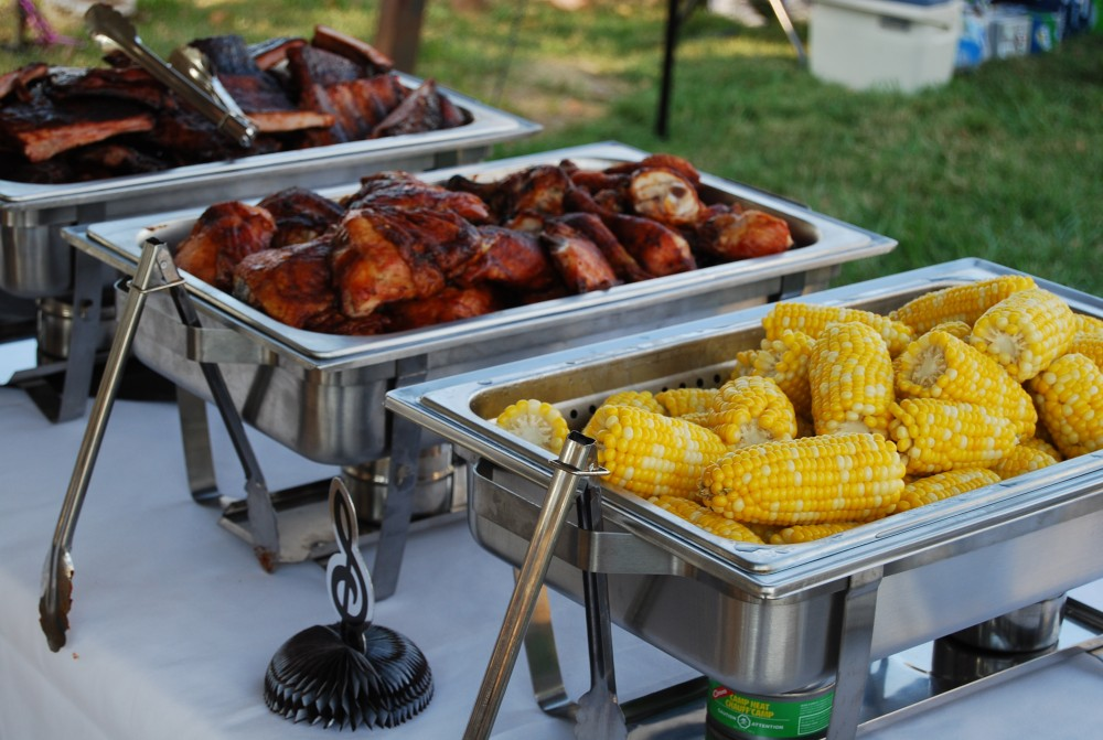bbq buffet line with corn