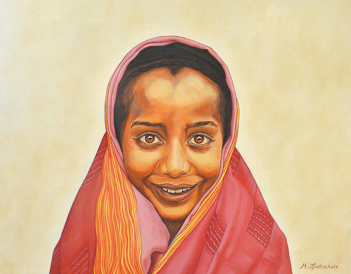 The Smile, portrait, oilpainting, young girl