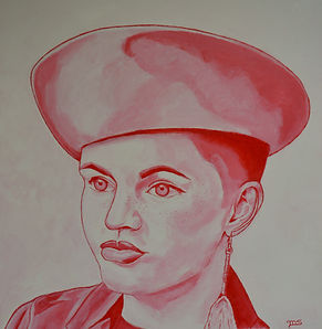 acrylic painting portrait of young girl with hat