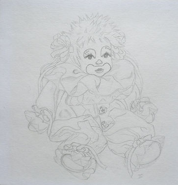 drawing clown doll