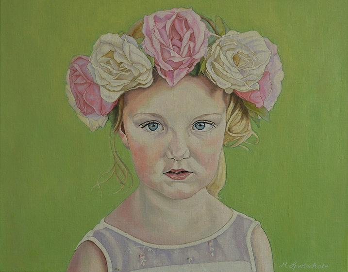 flowerfgirl, portrait, oilpainting