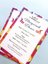 Colourful printed invitaions to a dinner