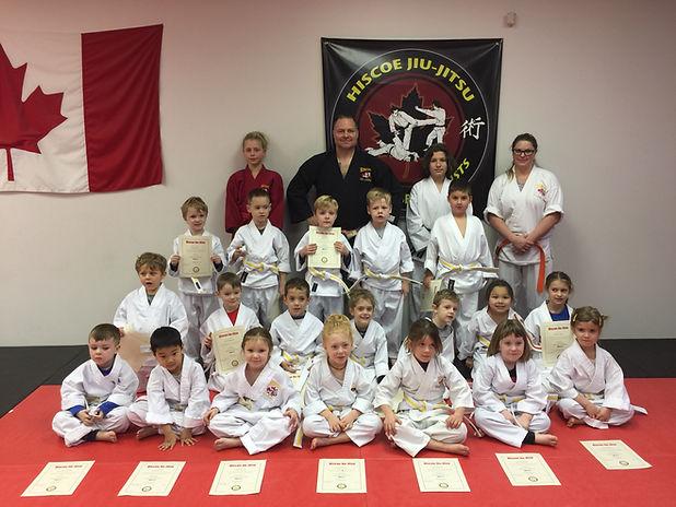 group of 5-6 year old hiscoe Jiu-Jitsu students
