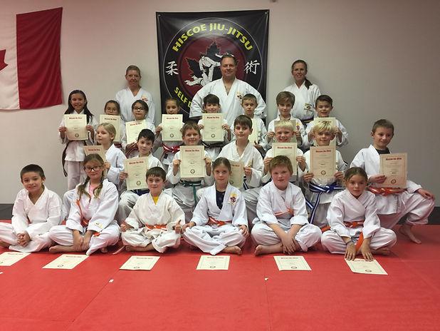 group of 7-9 year old hiscoe Jiu-Jitsu students