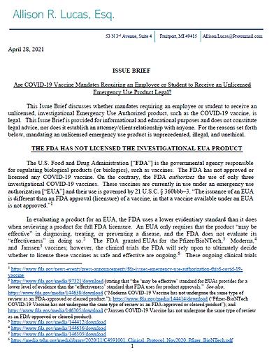 Issue Brief - Mandated COVID-19 Vaccine.