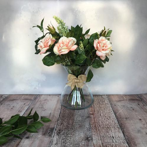 Peach silk roses floral arrangement mightylinksfo
