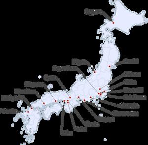 Karte von Japan, Wikipedia