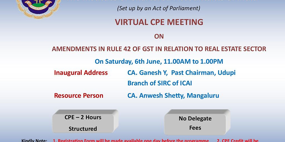 Virtual CPE Meeting organised by Udupi Branch of SIRC of ICAI