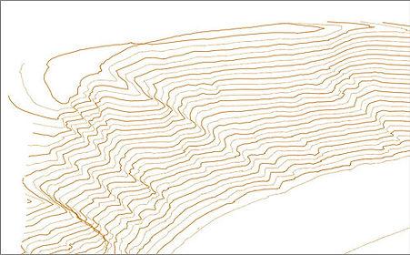 Digitales Geländemodell und Höhenlinien