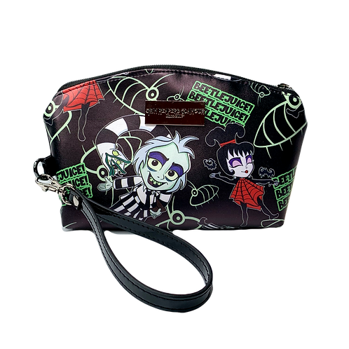 Beetlejuice & Lydia Faux Leather/Glow In The Dark Zipper