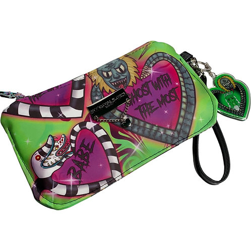 Neon Green Sparkle Say My Name Glamour Wristlet - Faux Leather