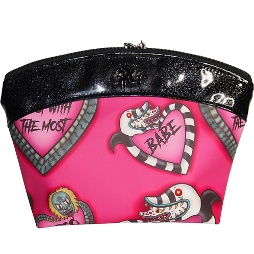 Hot Pink Say My Name Makeup Bag Large - Faux Leather