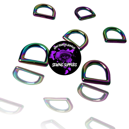 Pack of 6 - Rainbow .5 inch D-rings