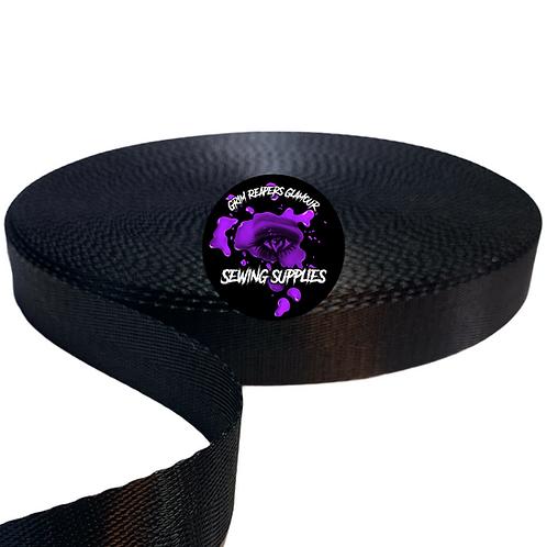 Black Licorice - Seatbelt Webbing 1inch By The yard