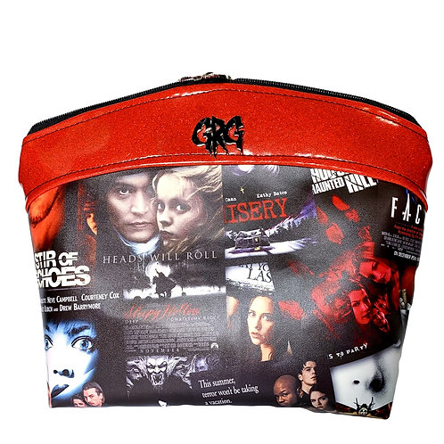 90's Horror Posters Makeup Bag Large - Faux Leather