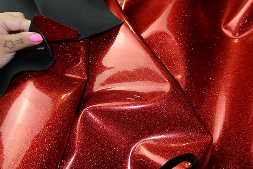 51 inch Red Scrap Stardust Thin Glitter Vinyl - Manu Exclusive