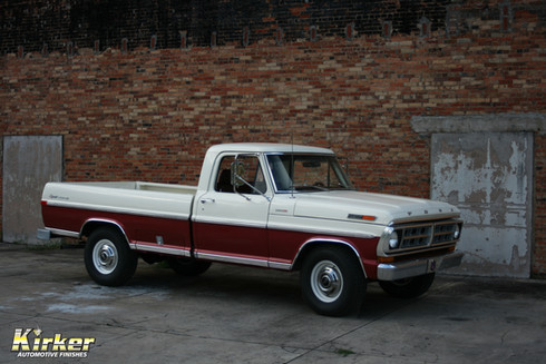 1971 Ford F250 Wimbledon White (81500) and Inferno Red Metallic (51425)