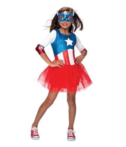Rubie's Officielle Captain America + Masque Filles Déguisement Marvel Superhero