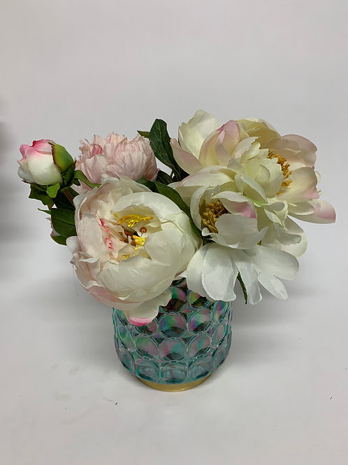 3292 VINTAGE PEONY IN SM OPAL BLUE GLASS