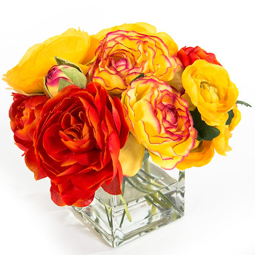 "2640 Yellow/Orange Ranunculus in 3"" Glass 7x7"