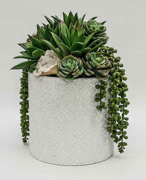 3500 SUCCULENTS/CRYSTAL IN WHITE POT