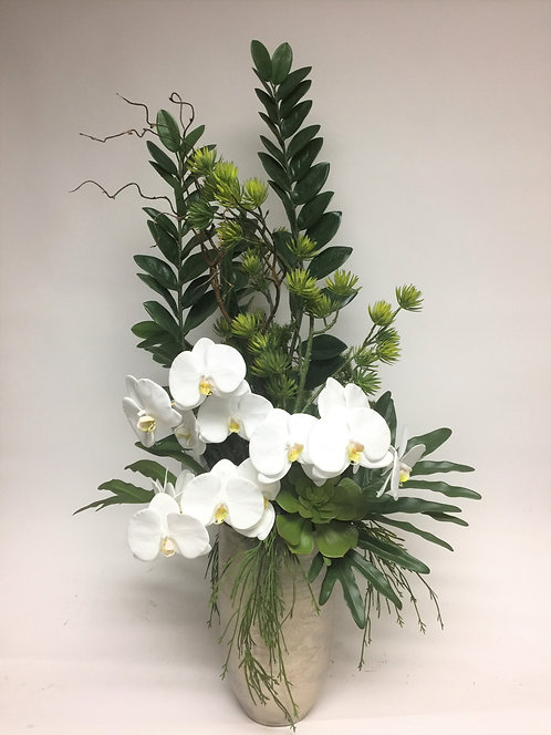 2949 Orchid/Foliage in Sm Silver Vase 23x47
