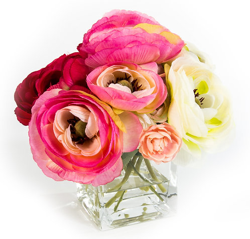"2638 Pink Ranunculus in 3"" Glass 7x7"