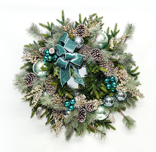 """2904 30"""" FROSTED BLUE WREATH"""