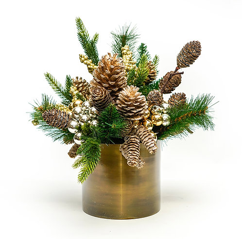 2901 GOLD POT WITH CHAMPAGNE CHRISTMAS FLORAL