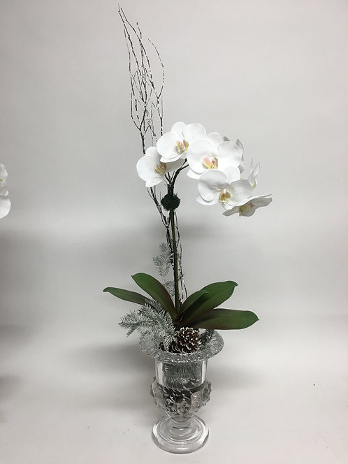 "2812 Winter Orchid in Tall Crystal Urn 39""x14"""