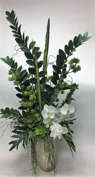 2957 Orchid/Foliage in Lg Silver Vase 27x59