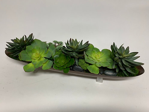 1431-GR GREEN SUCCULENTS IN COPPER PLANTER