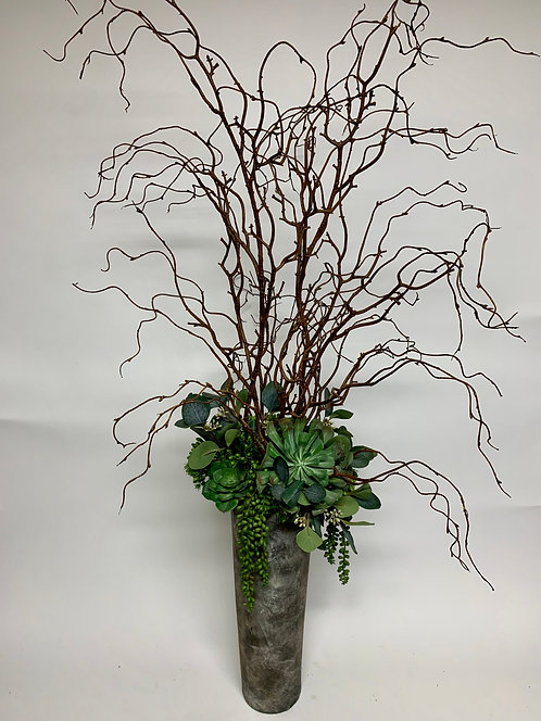 3189 CURLY WILLOW, EUC IN TALL MAGMA VASE