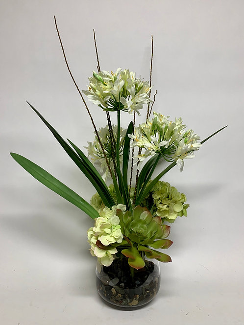 3319 AGAPANTHUS HYDRANGEA IN SM GLASS