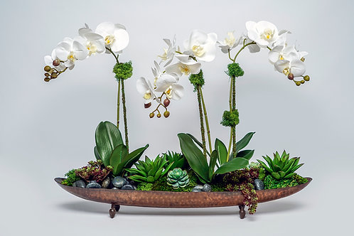 2498 ORCHIDS/SUCCULENTS IN COPPER BOAT