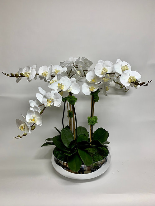 3014 ORCHIDS IN SILVER GLASS BOWL