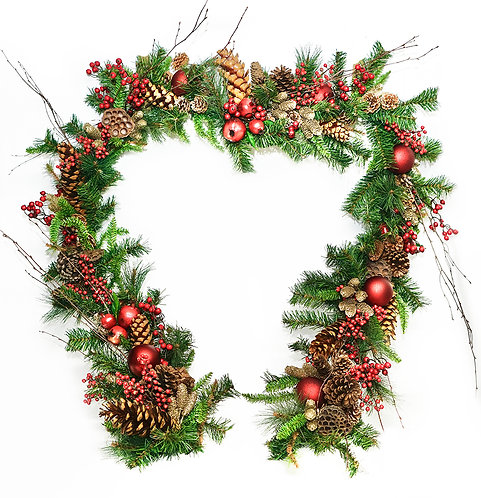 2895 9FT RED BERRY AND POMMEGRANATE GARLAND