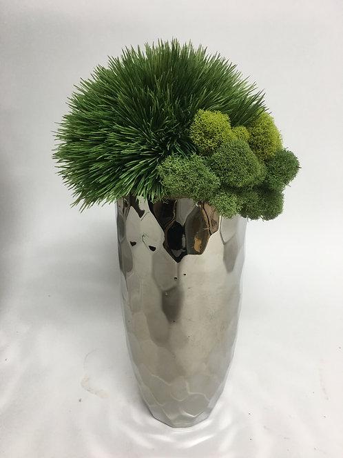 """2725 Puffy Grass in 10"""" Silver Geo Vase 14""""x6"""""""