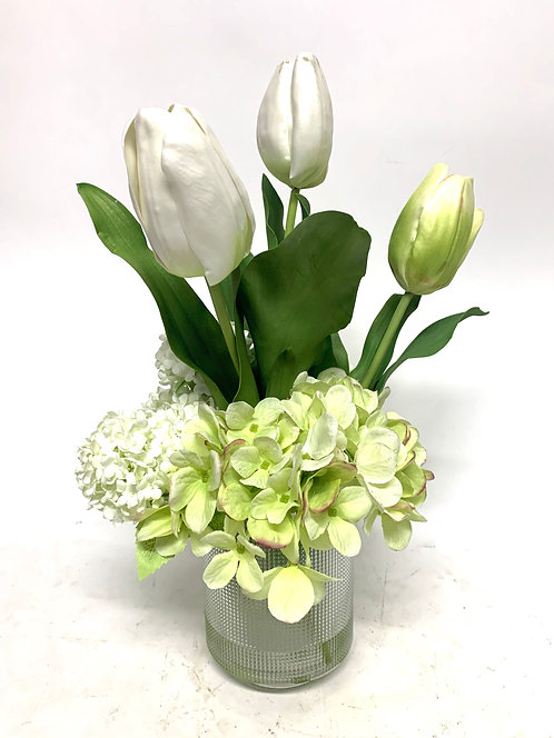 "3369 TULIPS/HYDRANGEA IN 5"" GLASS 10""X18"""
