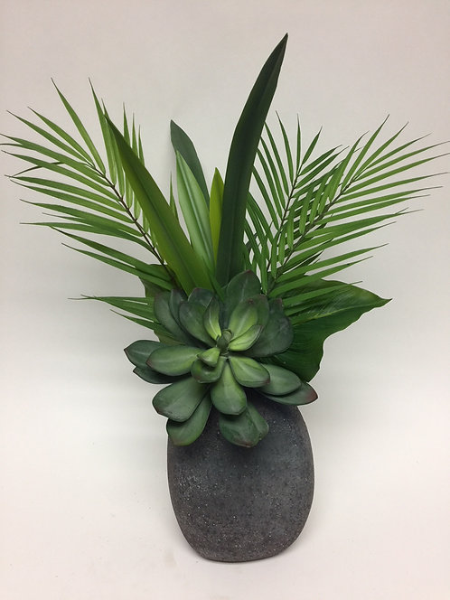 """2963 Succulent/Foliages in Volc. Egg 24""""x19"""""""