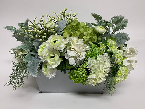 3348 WHITE/GREEN FLORAL IN BRUSHED SILVER 27X17