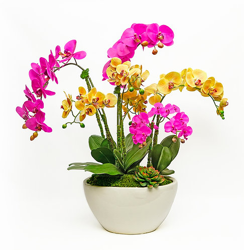 3466 WHITE OVAL LG  MULTI COLOR ORCHIDS