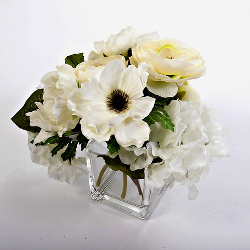 2466 White Flowers in Glass cube  9X6